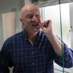 John cleaning teeth