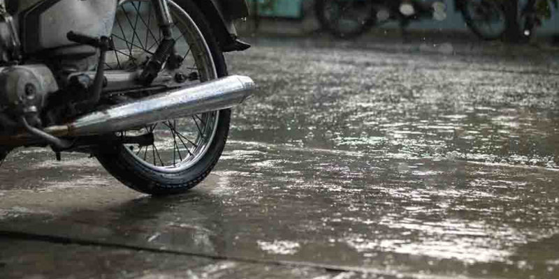 Rain after long periods of hot weather can cause dangerous road conditions for bikers – take care!