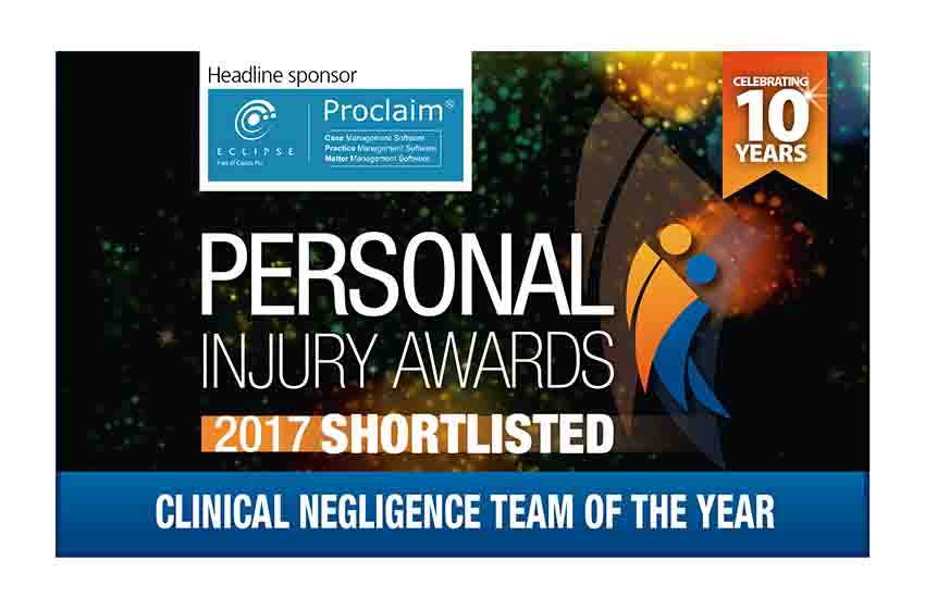 Clinical negligence and personal injury teams both shortlisted for national claims awards