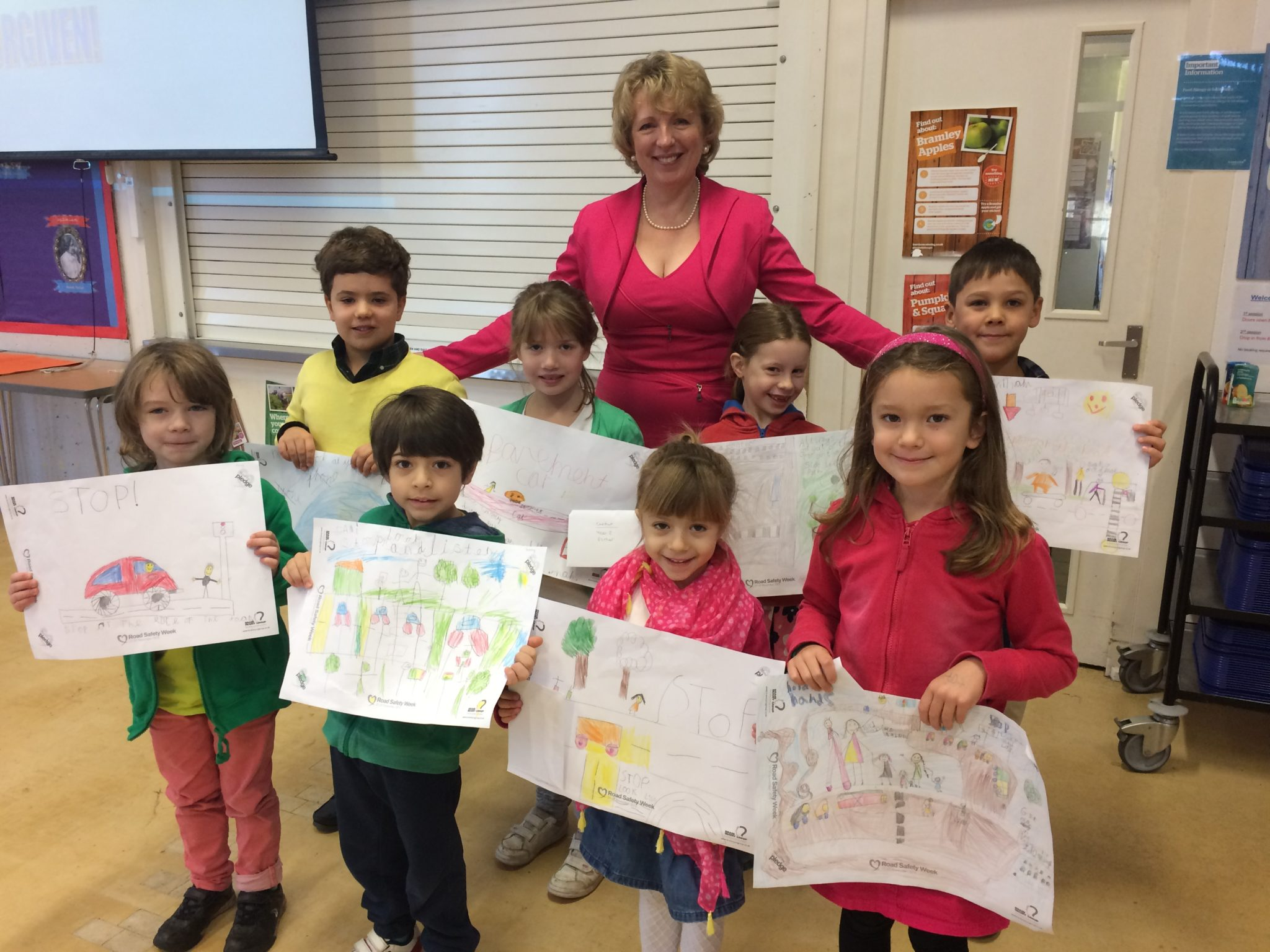 Guildford pupils take home messages to share with family and friends after taking part in poster competition for Road Safety Week