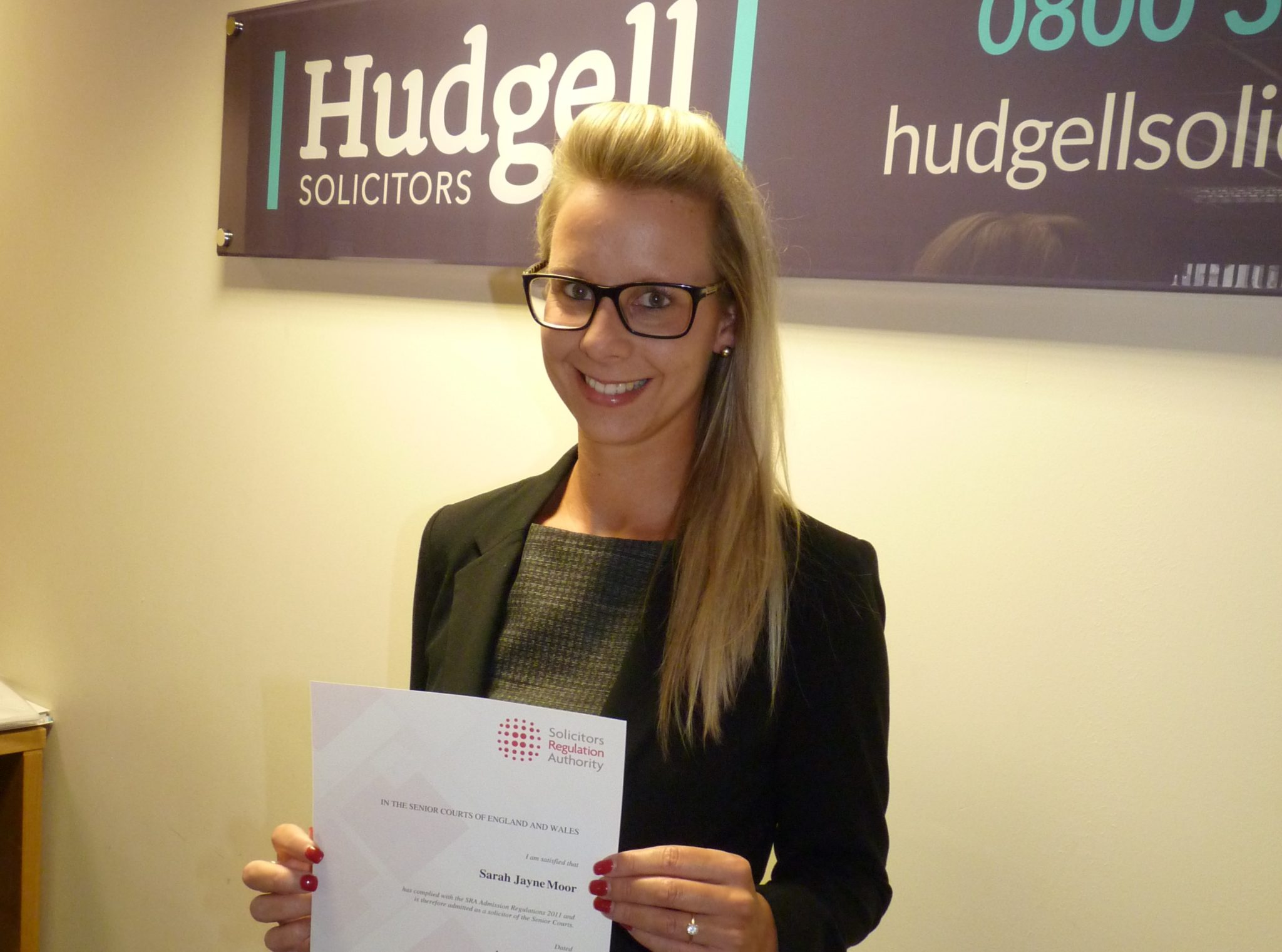 Sarah Moor becomes Hudgell Solicitors' youngest fully qualified medical negligence claims solicitor