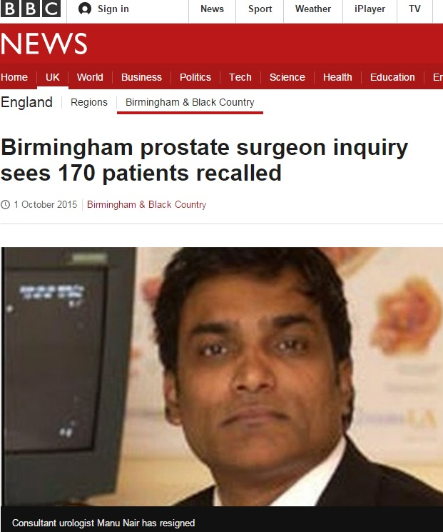 Concern for 170 patients of Birmingham prostate surgeon after allegedly diagnosing cancer wrongly