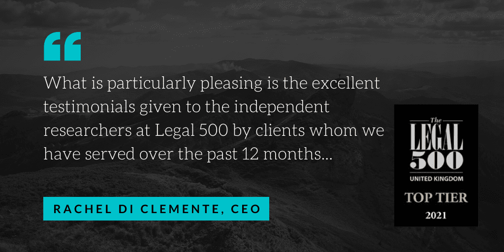 Legal 500 guide hails Hudgell Solicitors a 'Top Tier Firm' and recommends 14 specialist lawyers in newly published 2021 edition