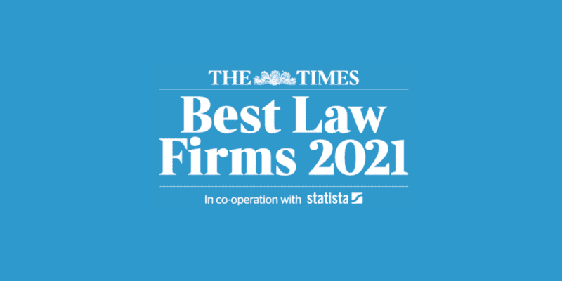 Rise to prominence continues as Hudgell Solicitors hailed one of UK's Top 200 law firms by The Times