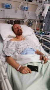 Karl in hospital following the accident at work