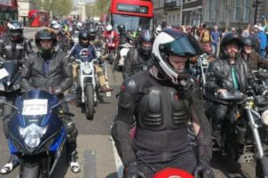 An MAG demonstration against charges for pre Euro 3 motorcycles in the London Ultra Low Emission Zone
