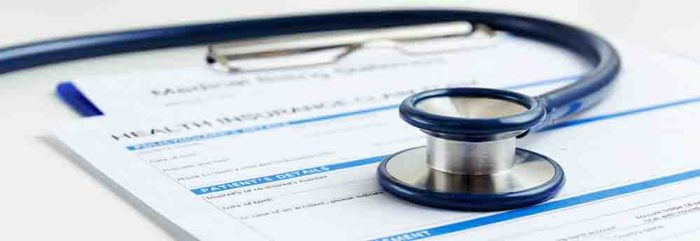 tethoscope on health insurance form