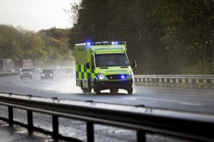 Ambulance in bad weather