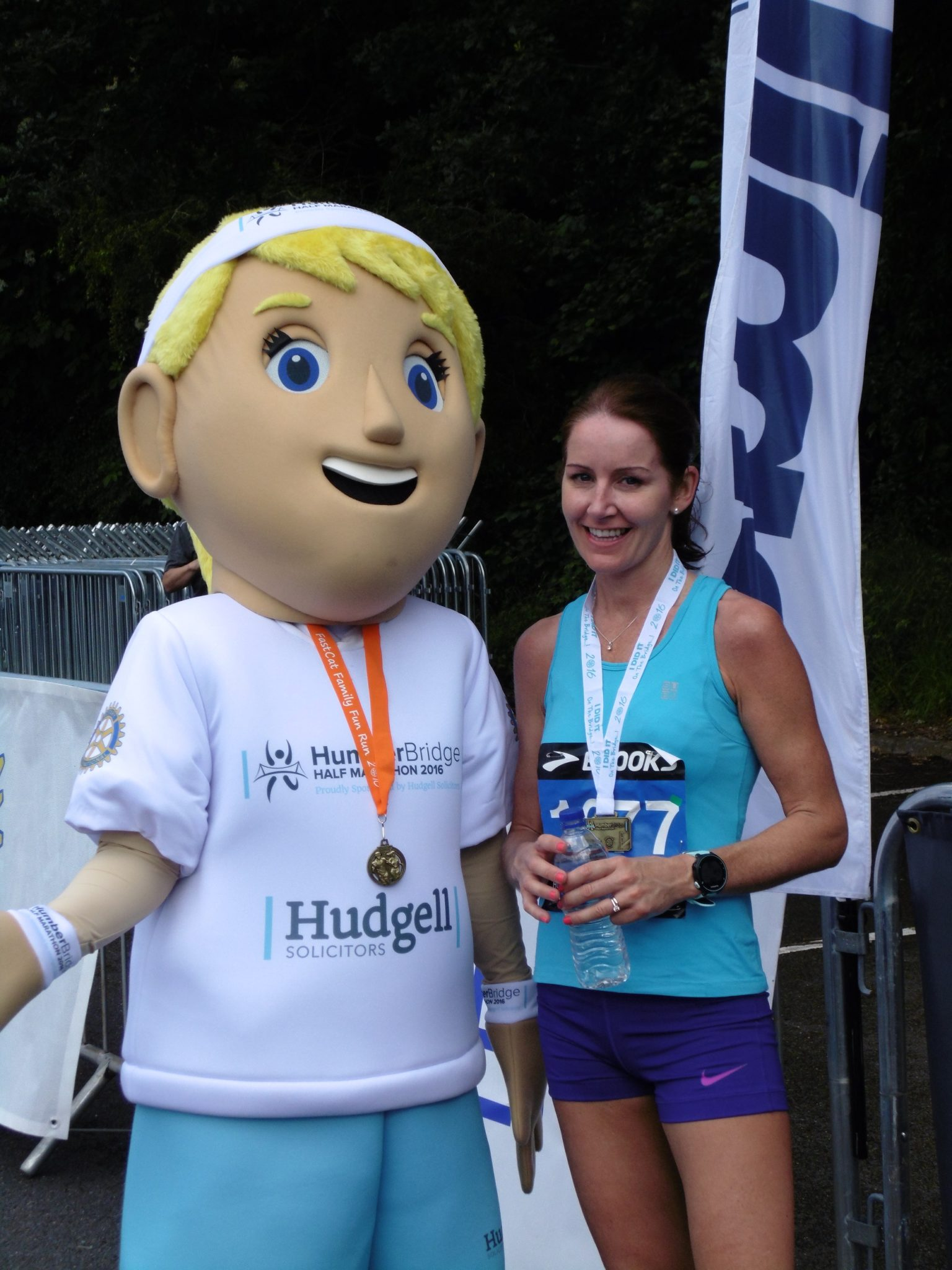 Bridgett with women's Humber Half winner
