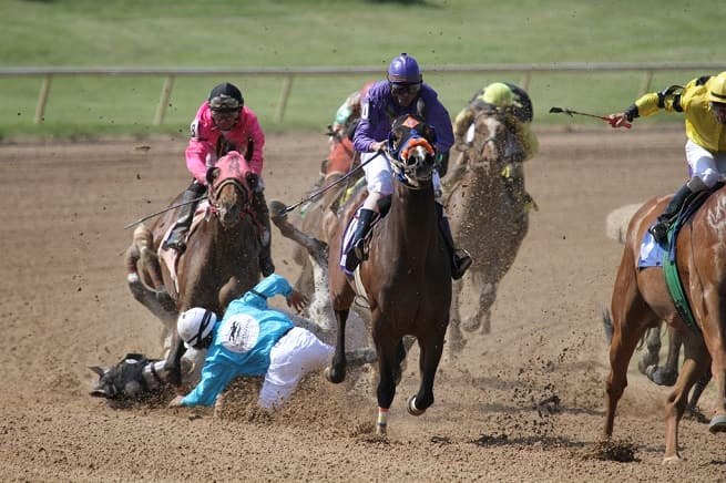 Jockey falls off horse | Head injuries in Horseracing and Sports