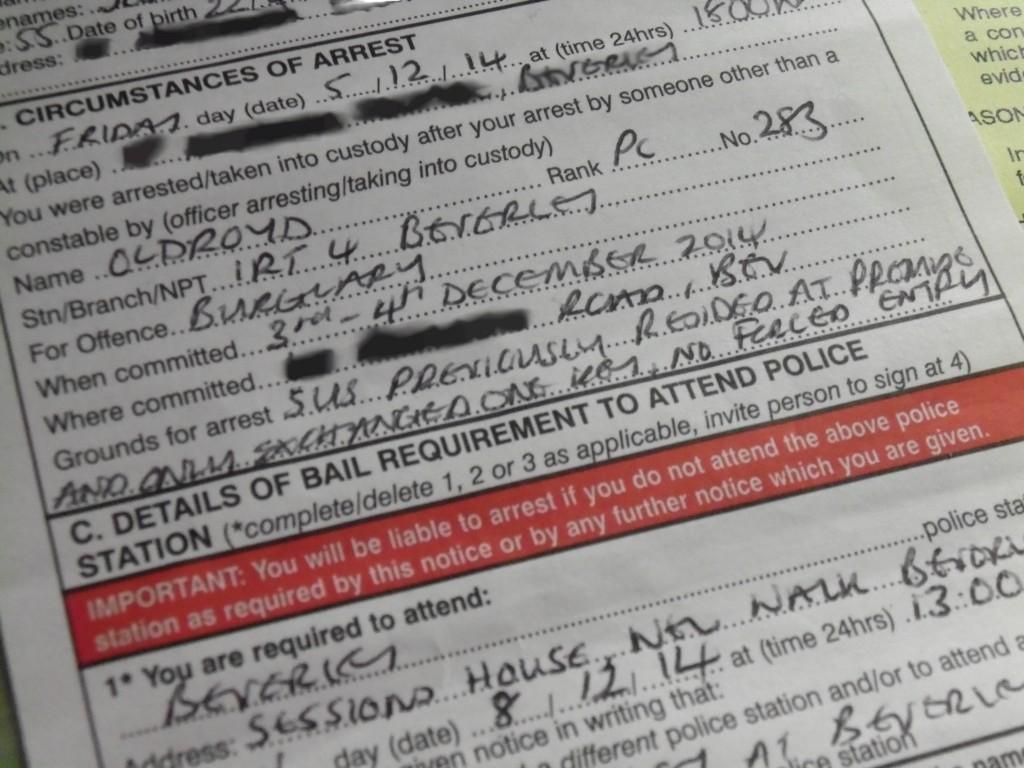 Police bail notice