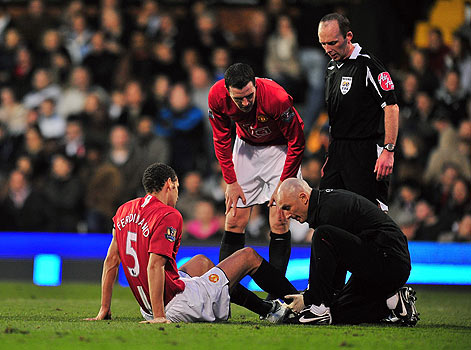 Treating client on pitch