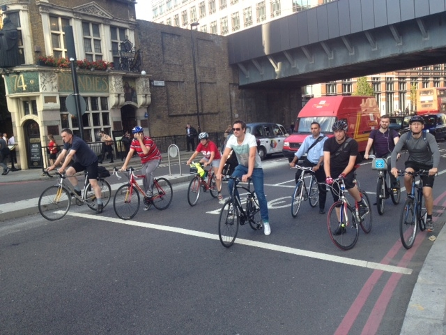 Cyclist at traffic lights in London