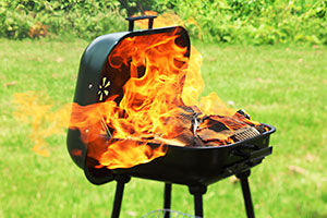 BBQ on fire