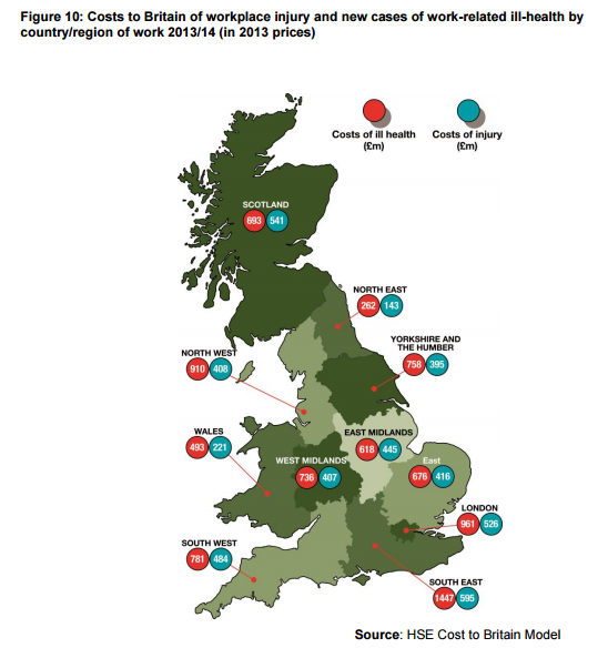 work place injury England Map