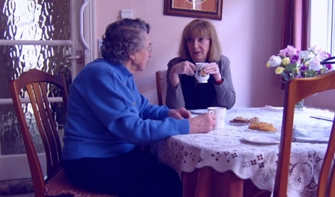 Jean talking over cup of tea