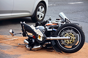 motor bike on road after crash